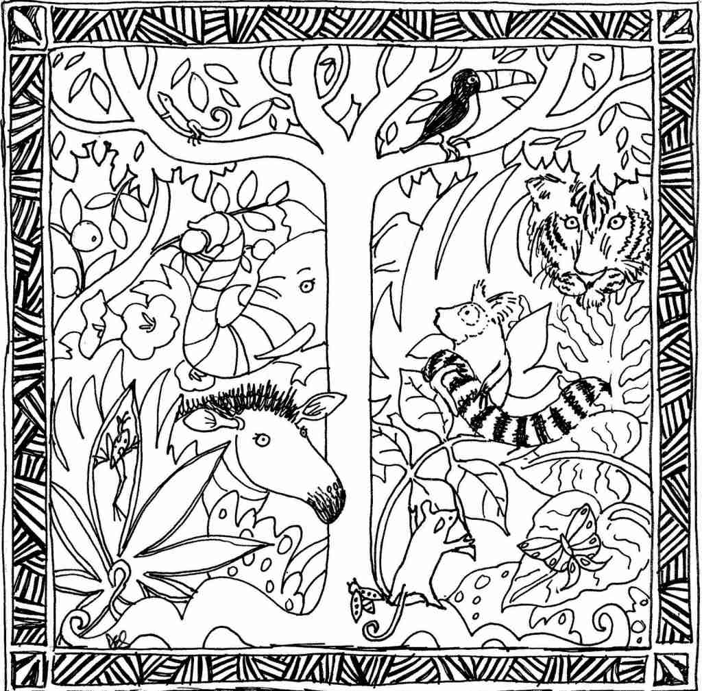 1024x1009 Liberal Tropical Rainforest Coloring Page Drawing With Color