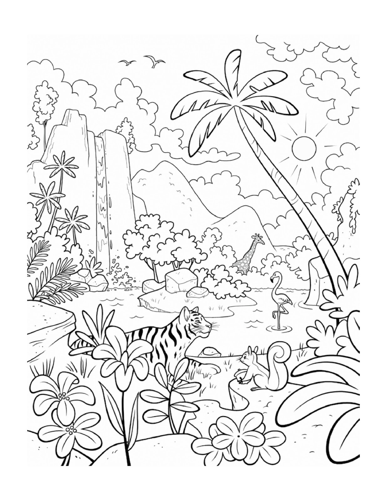 1237x1600 Jungle Leaf Coloring Page To Print For Toddler Free Printable