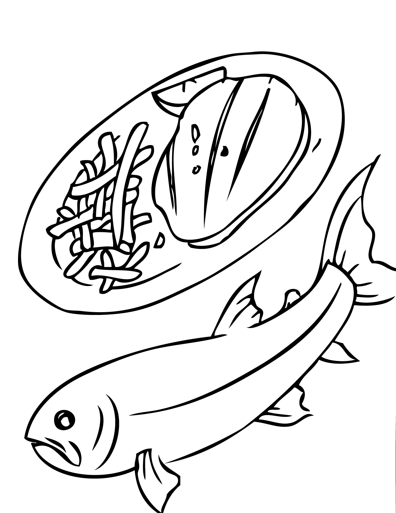 1275x1650 Trout Coloring Page
