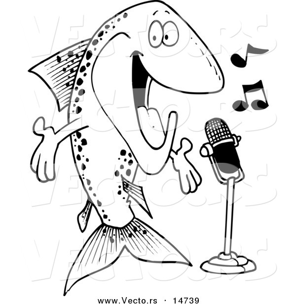 600x620 Vector Of A Cartoon Musical Trout Singing