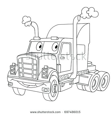 450x470 Elegant Truck And Trailer Coloring Pages For Coloring Page