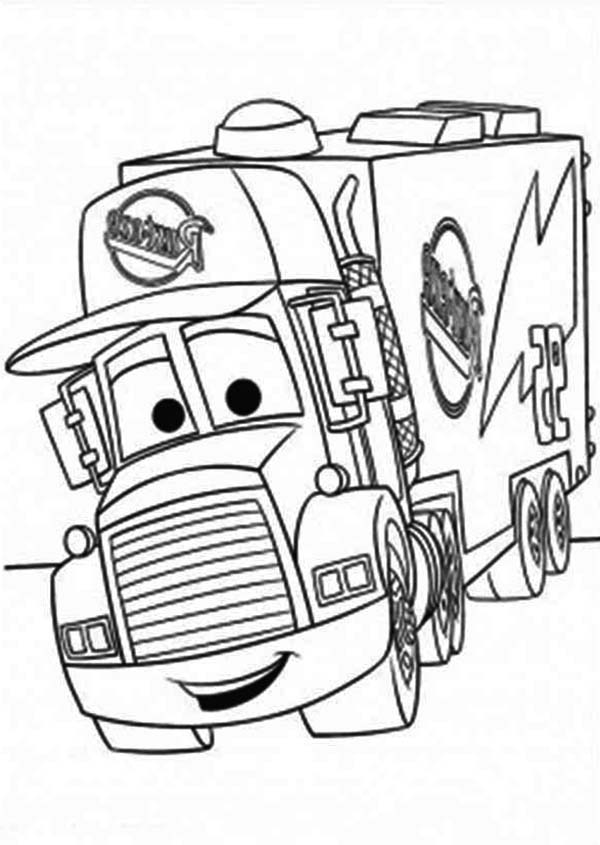 600x845 Mack Of Car The Movie Pulling Trailer Coloring Page Kids Play
