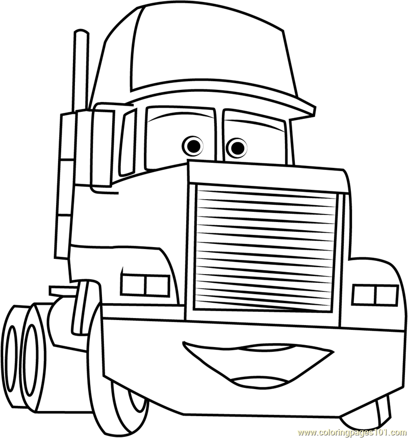 800x858 Mack Trailer Coloring Page