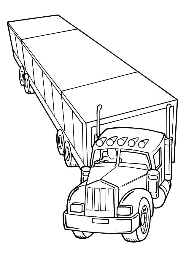 600x859 Semi Coloring Pages Truck And Trailer Coloring Pages Semi Truck