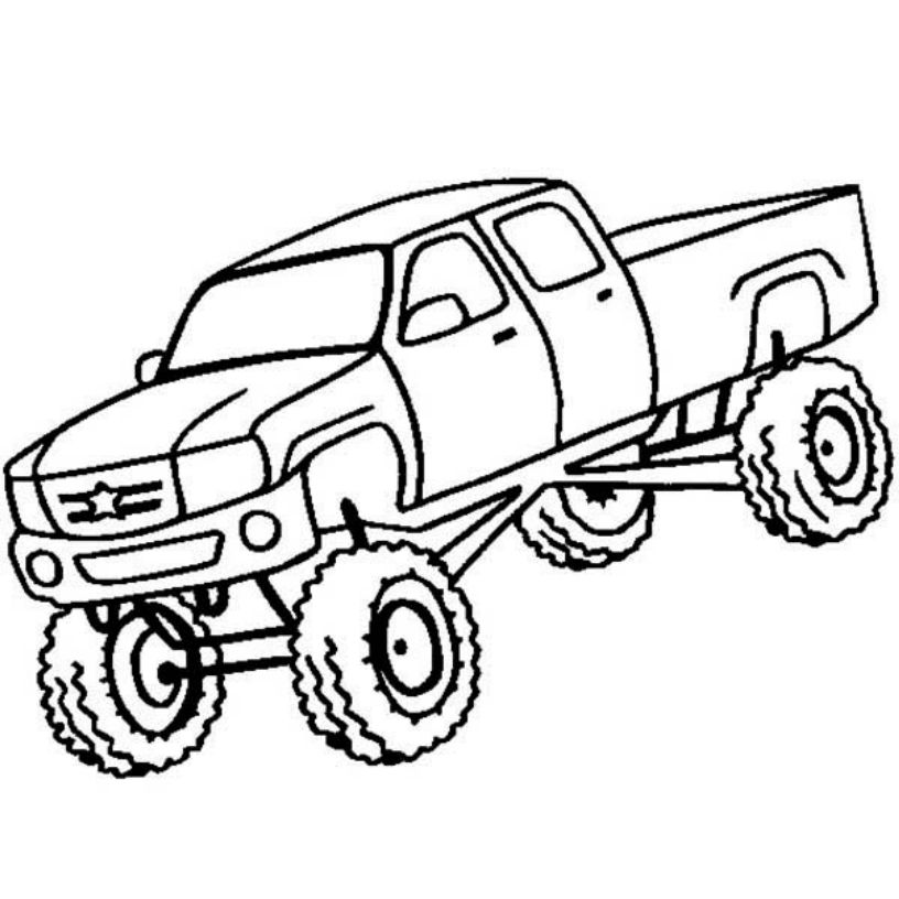 816x816 Drawing Monster Truck Coloring Pages With Kids