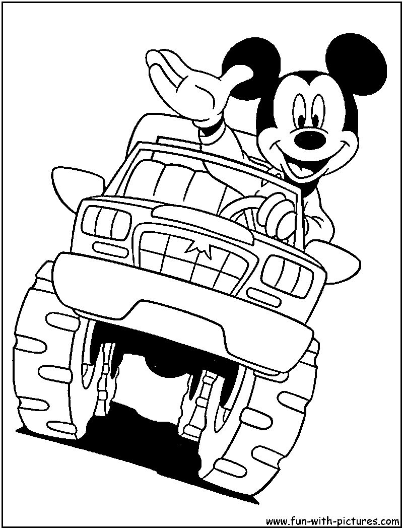800x1050 Mickey On Monster Truck Coloring Pages