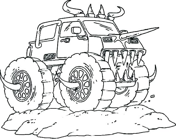 600x473 Monster Truck Coloring Page