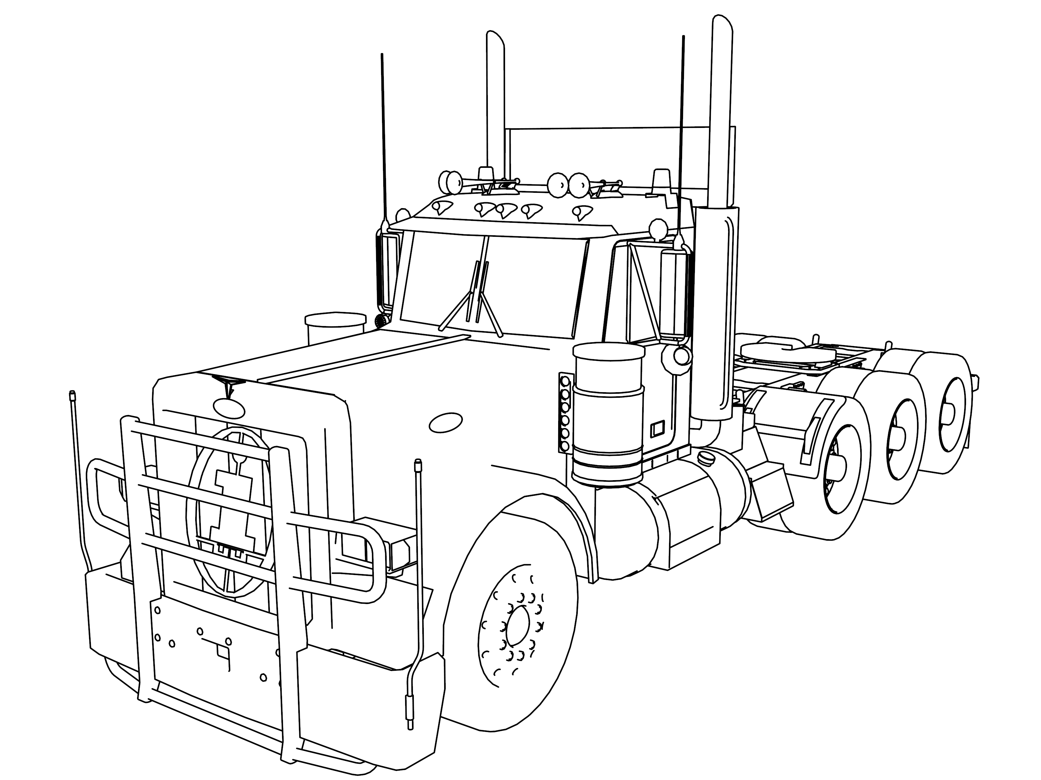3333x2500 Long Trailer Truck Tir Coloring Pages Wecoloringpage
