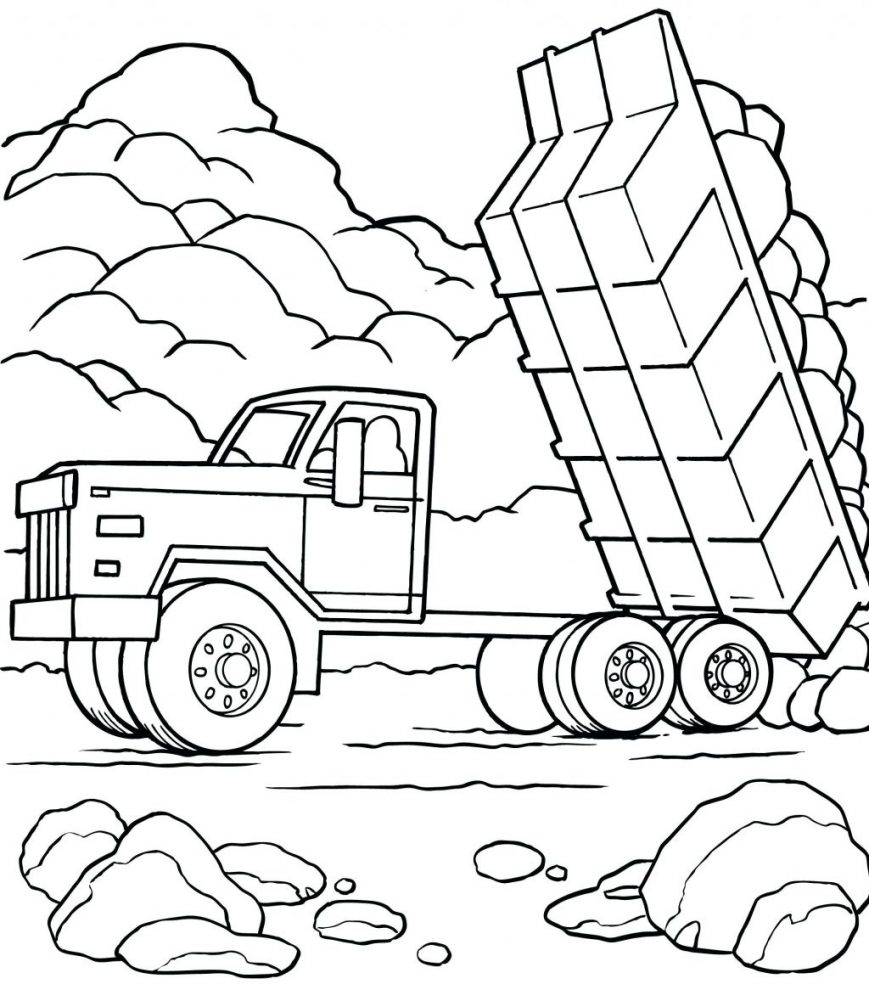 869x1001 Dump Truck Coloring Pages Image Hd Printable Crayola Book