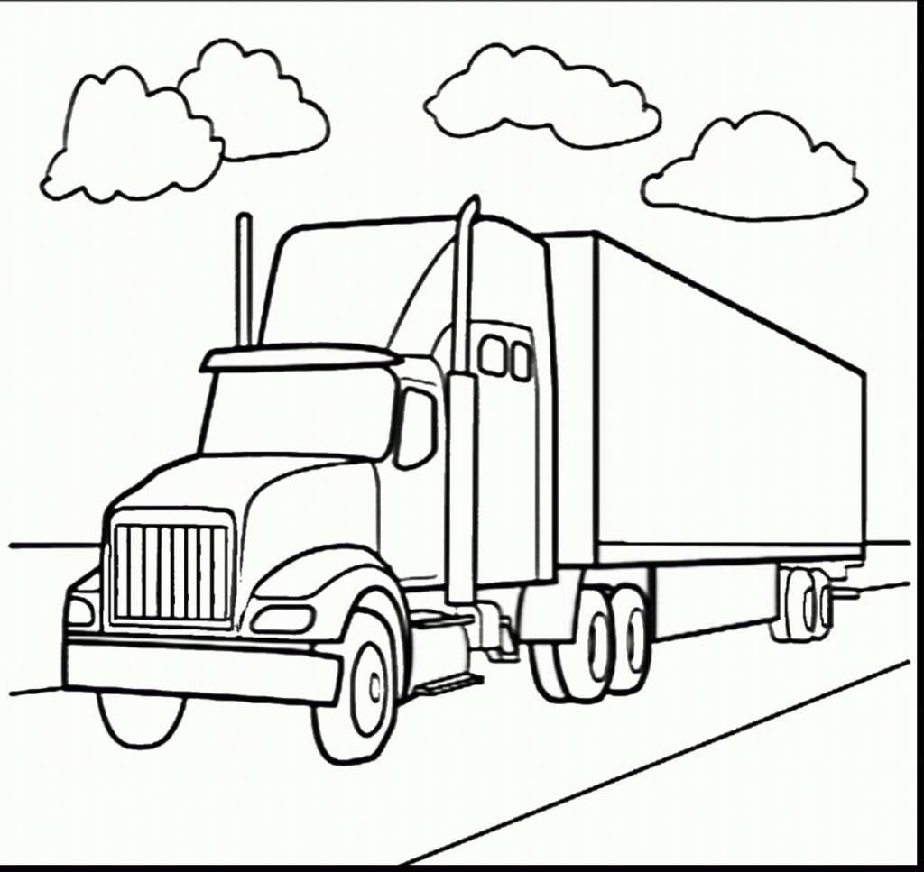 1024x967 Awesome Semi Truck Coloring Pages Preschool To Good Semi Truck