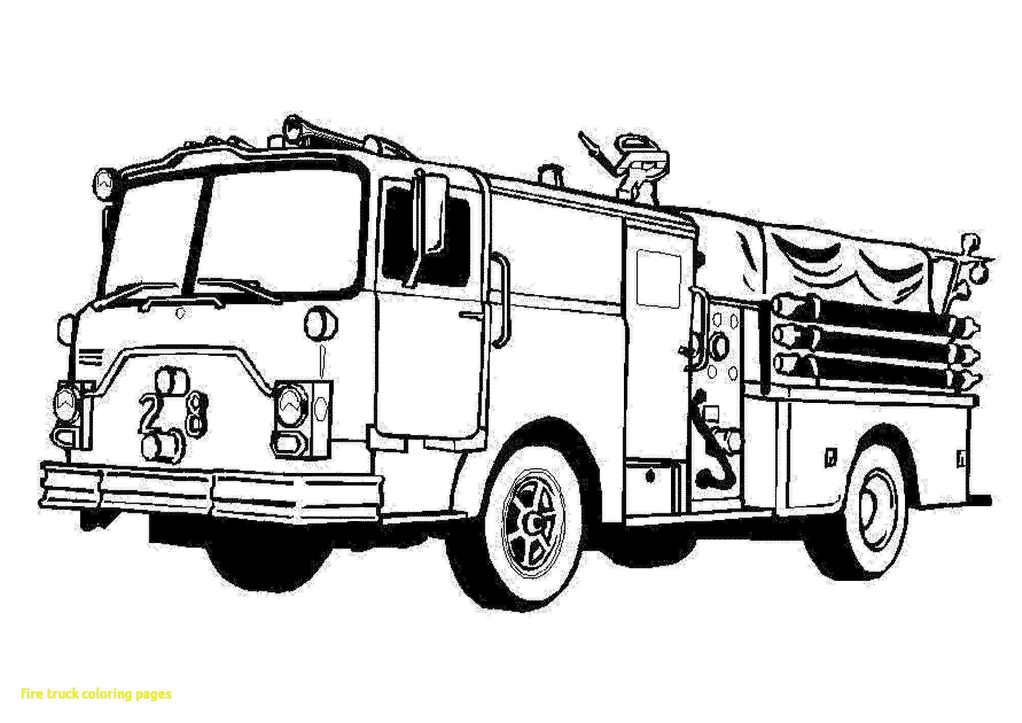 2000x1414 Fire Truck Coloring Page