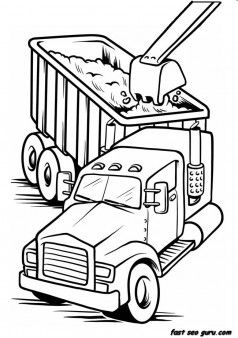 238x338 Printable Work Load Truck Coloring Book Page For Boy Cool