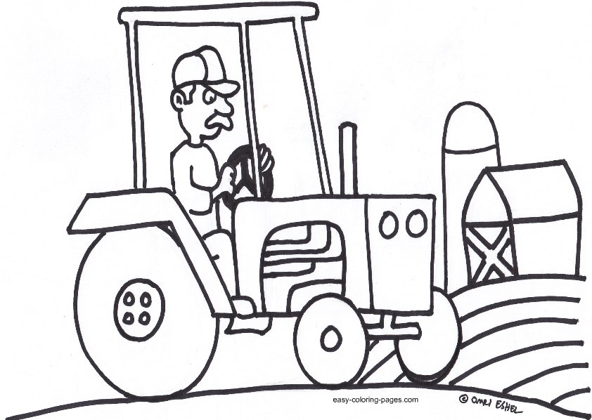 842x598 Tractor Trailer Coloring Page Trucks Tractors And Diggers Pinter