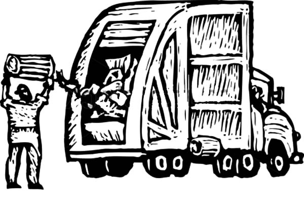 600x401 Trash Man Dumping Trash Into Garbage Truck Coloring Pages