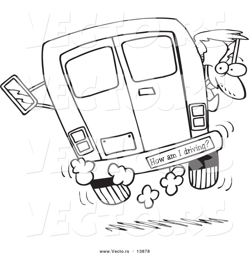 1024x1044 Vector Of A Cartoon Crazy Driver With A How Am I Driving Bumper