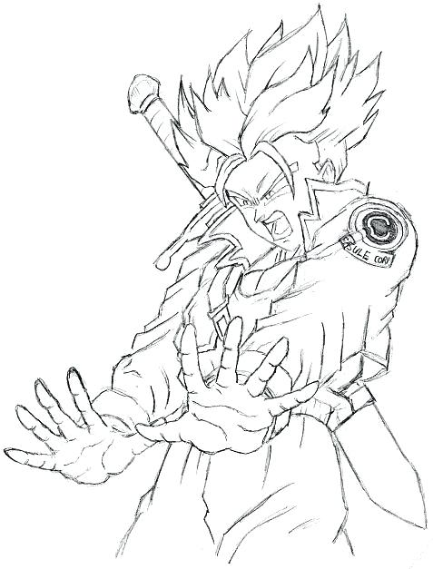 477x627 Dragon Ball Z Coloring Page Future Trunks Coloring Pages Dragon