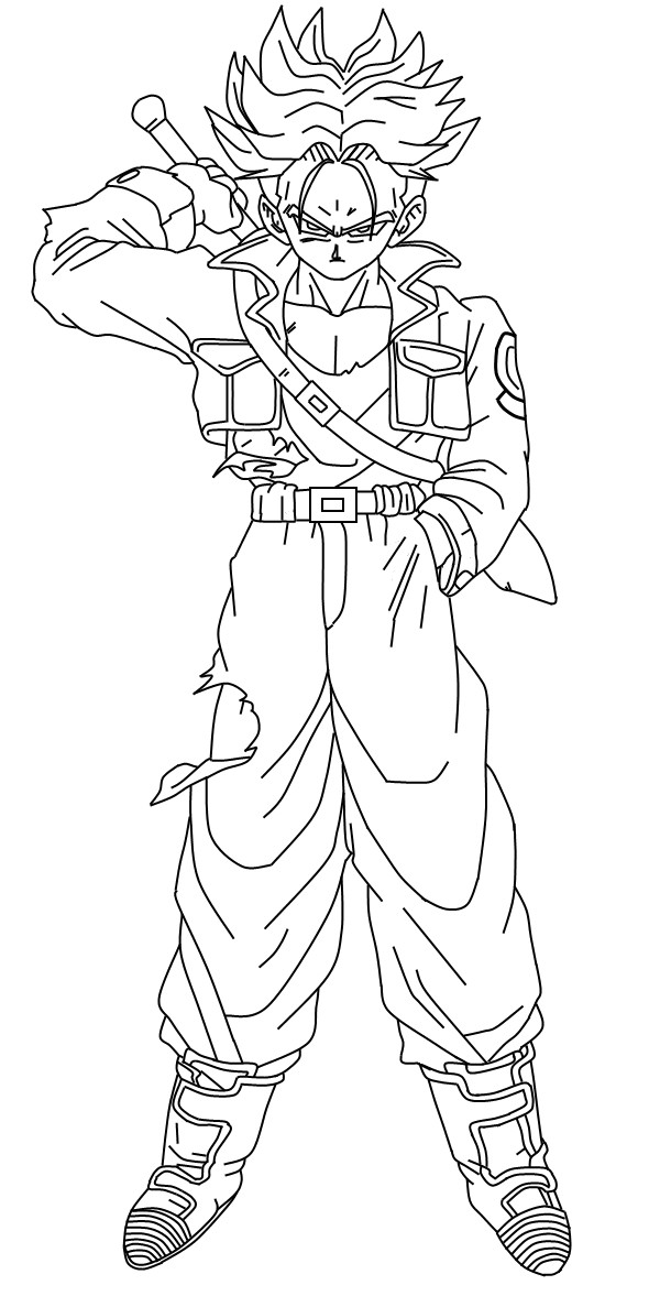 600x1177 Super Saiyan Trunks Coloring Pages