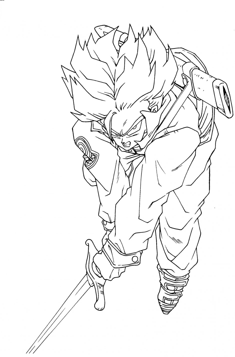 940x1425 Dragon Ball Z Saiyan Trunks Coloring Pages Trunks Dragon Ball