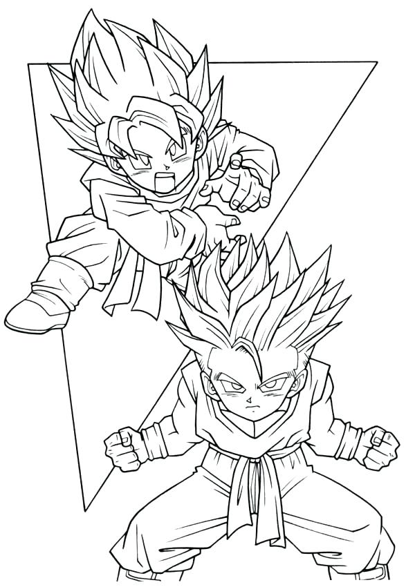600x850 Dbz Goten Coloring Pages Trunks Bell