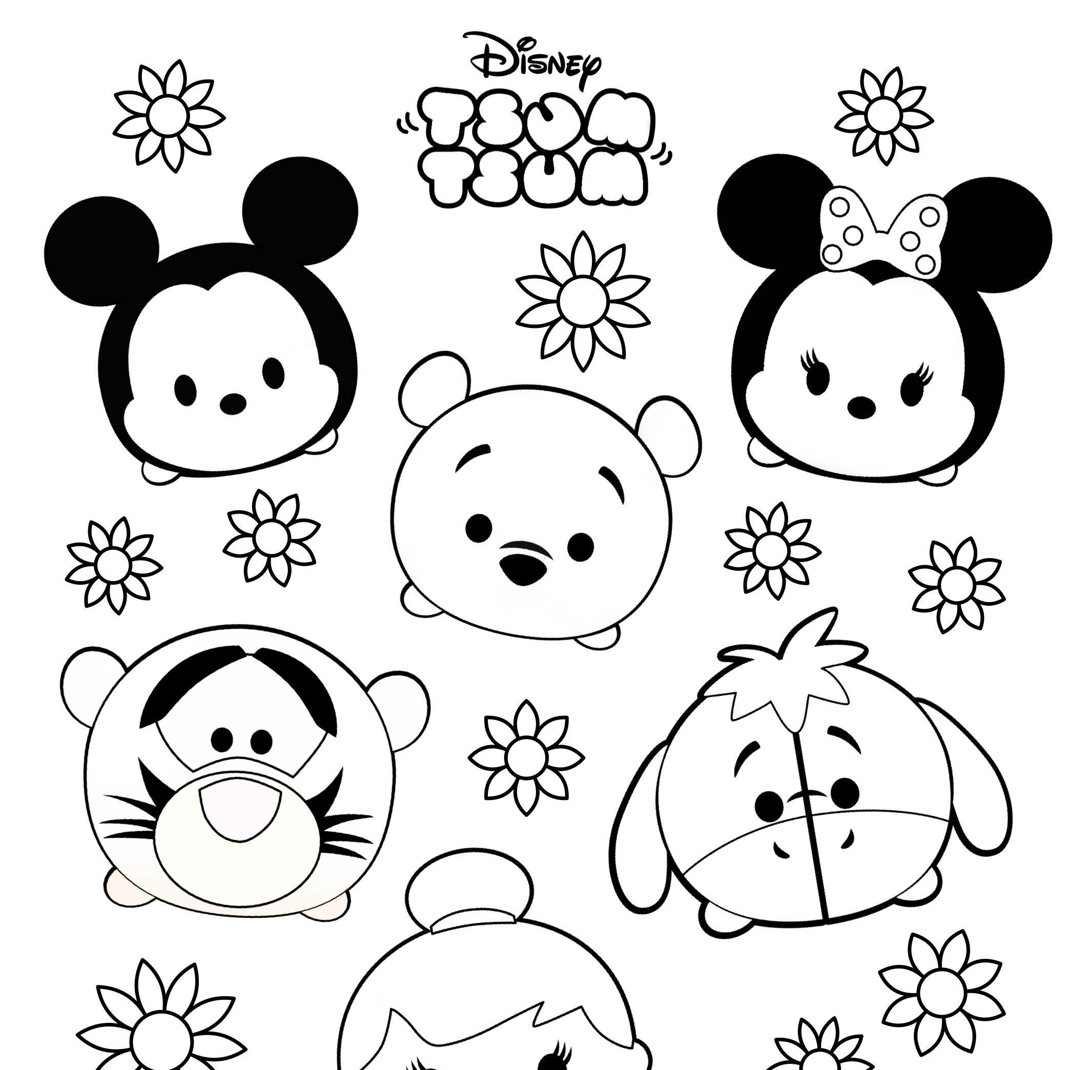 2088x2088 Tsum Tsum Colouring Sheets Mama Geek