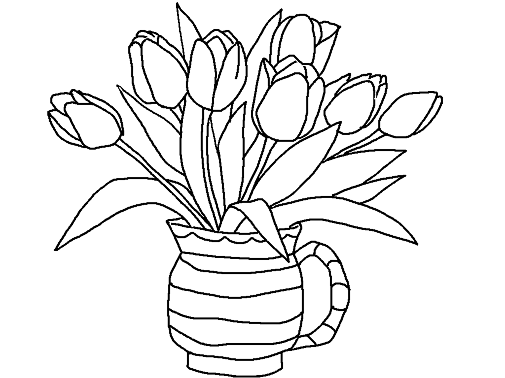 1024x768 Free Printable Tulips Coloring Pages