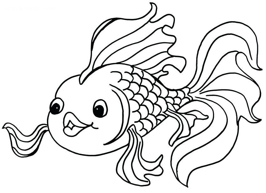 850x618 Fish Coloring Pages To Print Drawn Gold Fish Coloring Page Fish
