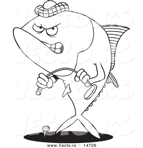 600x620 Vector Of A Cartoon Mad Tuna Fish Playing Golf