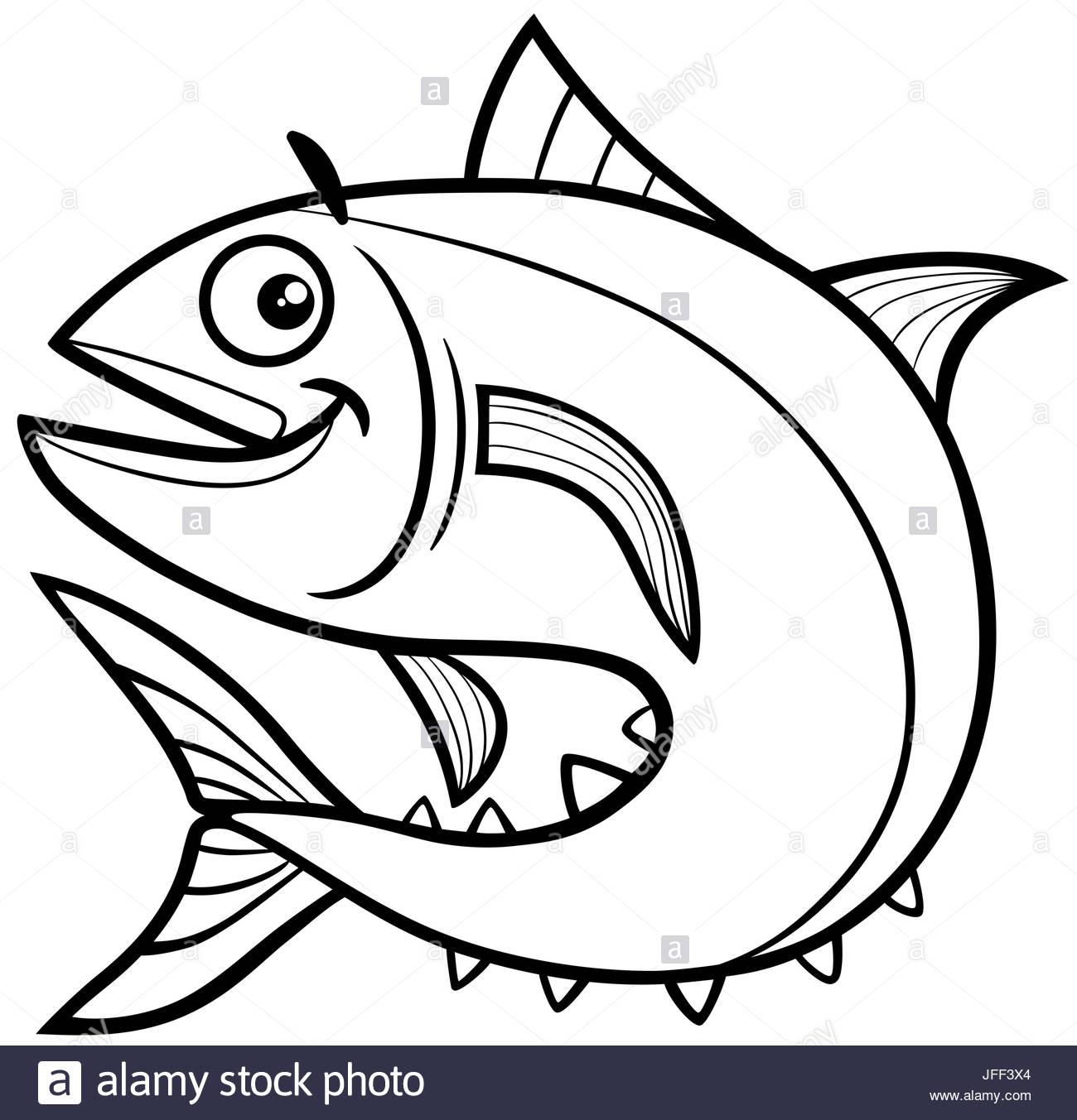 1300x1353 Tuna Fish Coloring Page Stock Photo