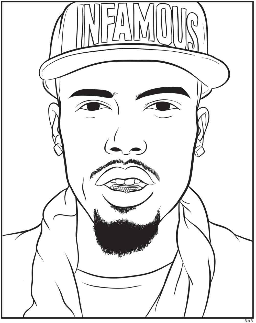 coloring pages - How to Draw Tupac Shakur, Famous Singers | Tupac ... | 1264x1001