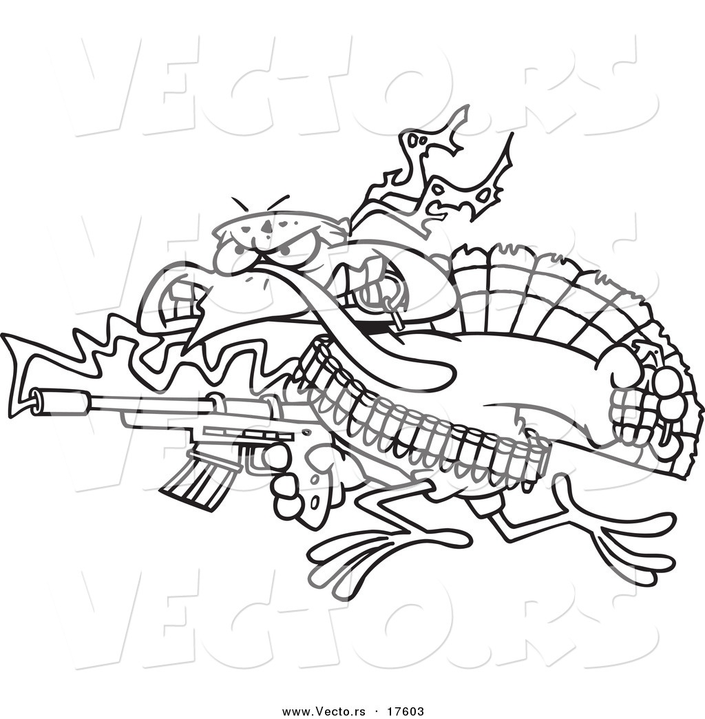 1024x1044 New Vector Of A Cartoon Rambo Turkey Bird Coloring Page Outline