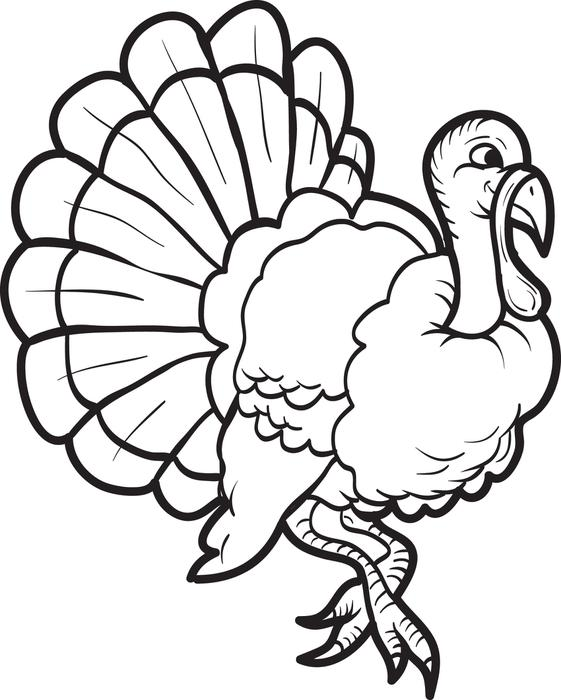 561x700 Turkey Coloring Pages To Print And Turkey Pictures To Colour