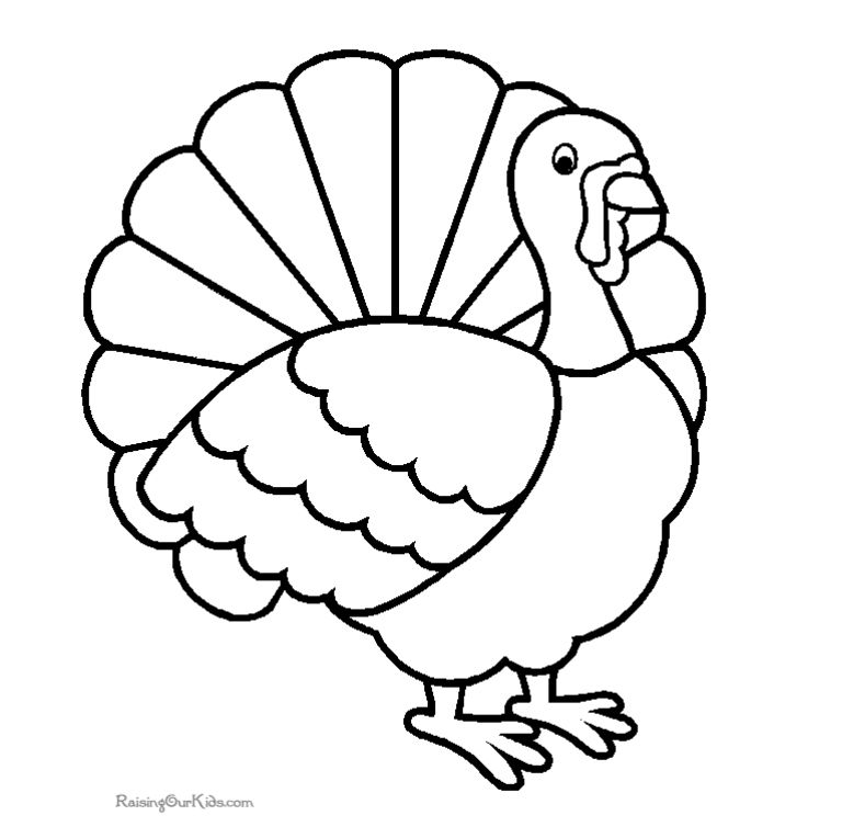 768x764 Turkey Color Sheets Turkey Color Pages Printable Coloring Image