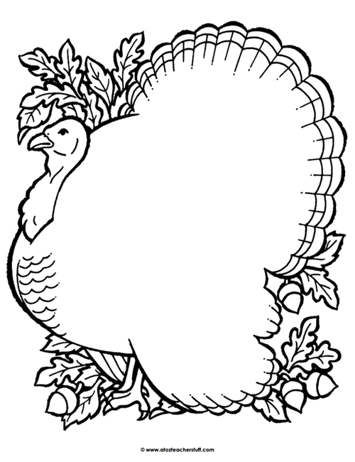 500x650 Turkey Coloring Page Outline Or Shape Book A To Z Teacher Stuff