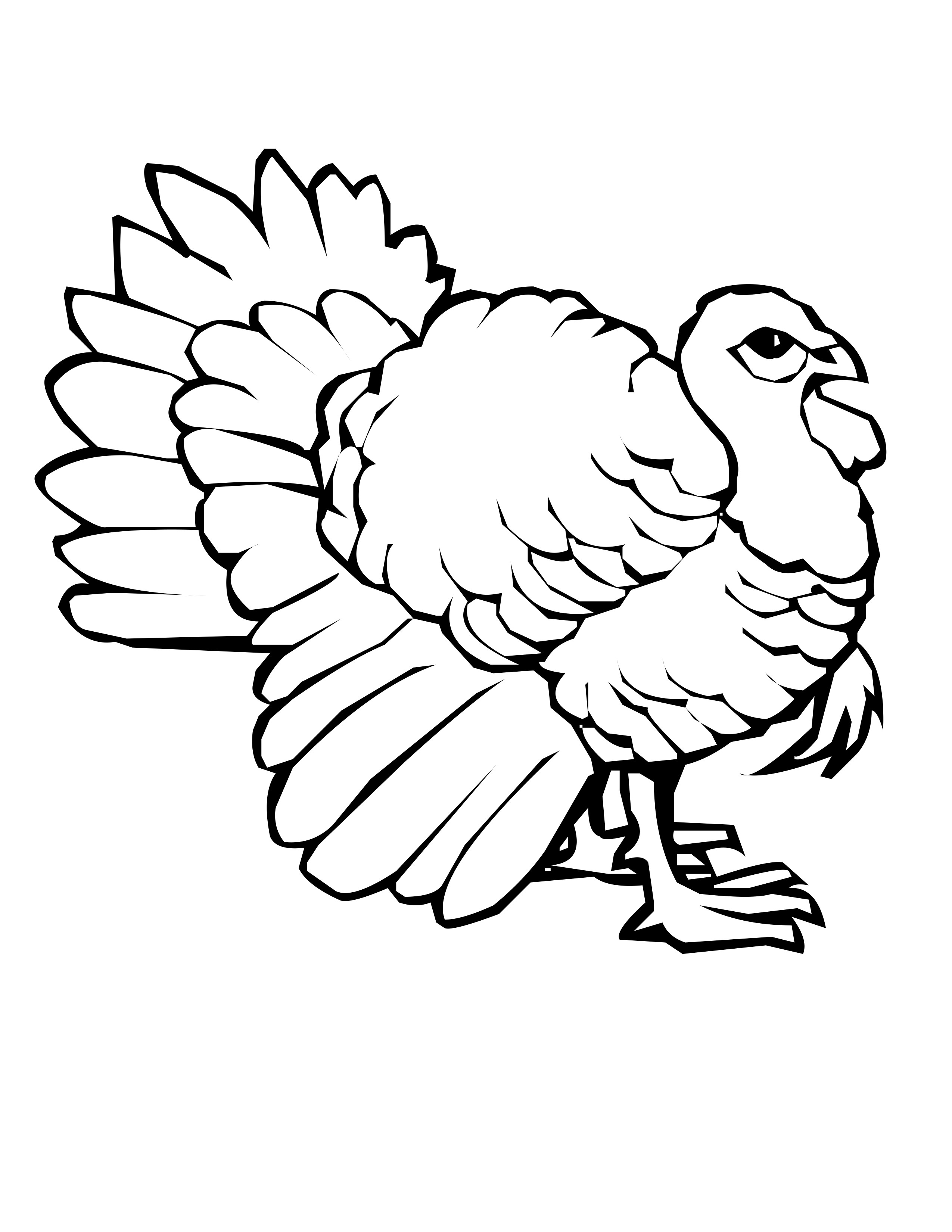 2550x3300 Successful Turkey Outline Coloring Page