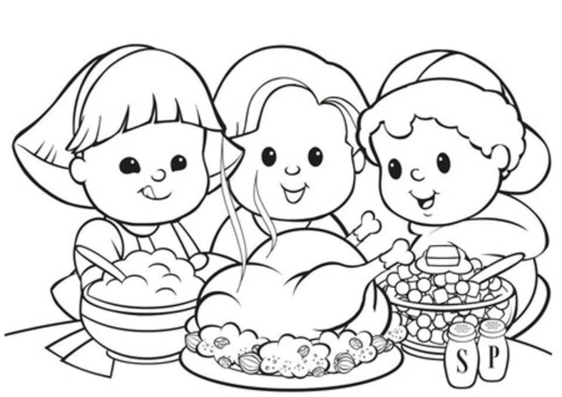 788x557 Thanksgiving Dinner Turkey Coloring Book