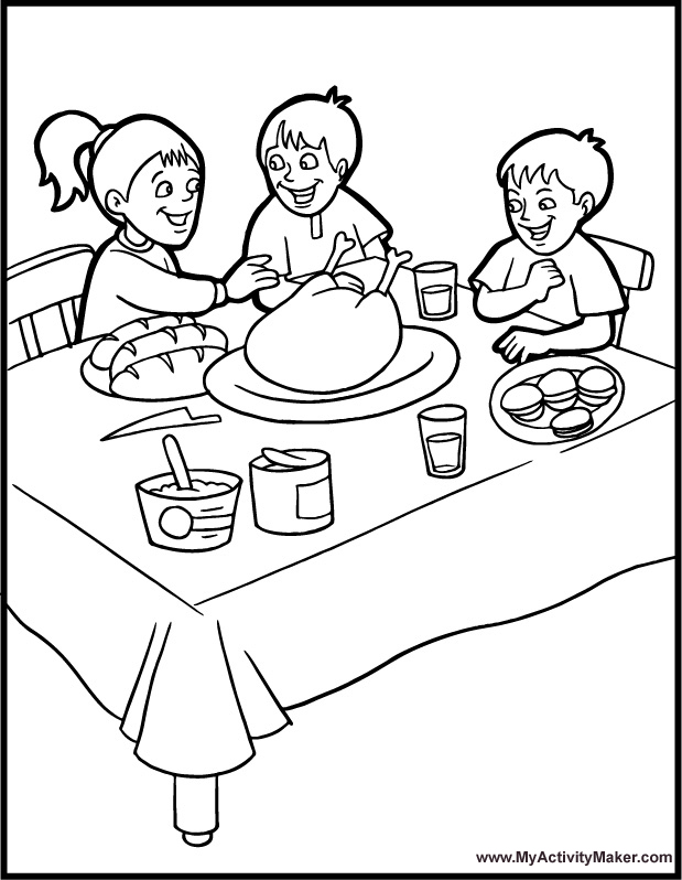 619x798 Thanksgiving Table Coloring Pages