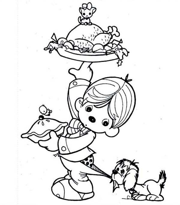 600x682 A Kid Preparing Thanksgiving Day Dinner Coloring Page Paper