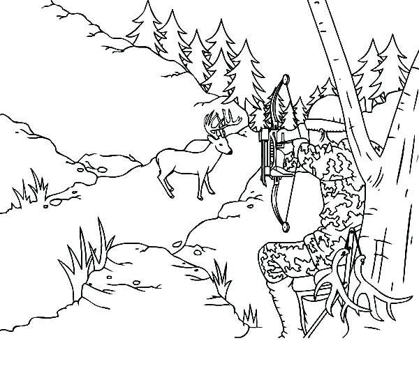 600x535 Hunting Coloring Pages Buffalo Hunt Coloring Page Download Bow