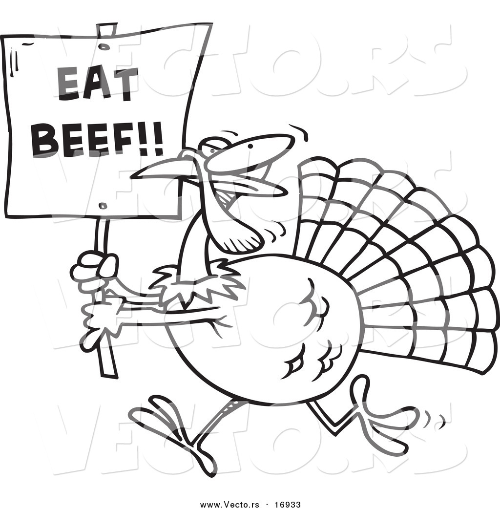 1024x1044 Vector Of A Cartoon Turkey With An Eat Beef Sign