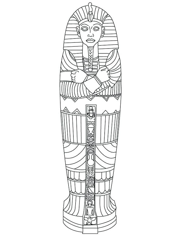 600x775 King Tut Coloring Pages King Tut Gold Sarcophagus Of Ancient