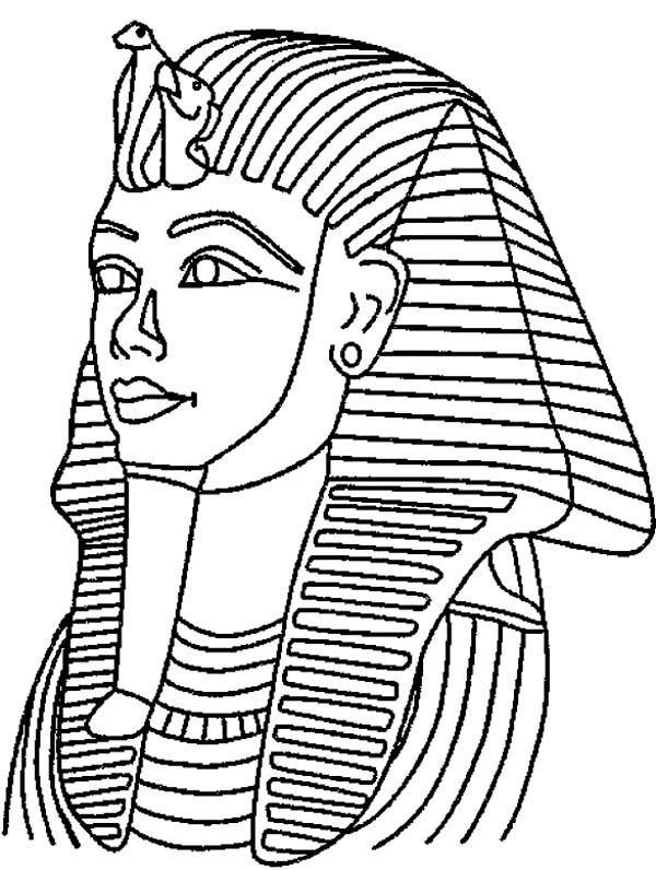 600x796 King Tut Mask Mummy Free Coloring Page