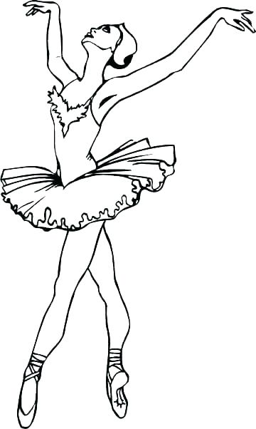 360x602 Dance Coloring Page Ballerina Dancing In Tutu Dress Coloring Page