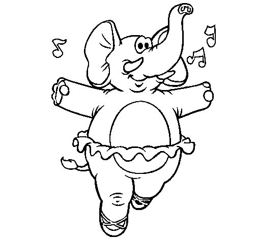 505x470 Elephant Wearing Tutu Coloring Page