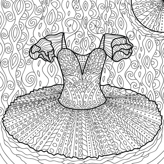 570x570 Printable Coloring Page Zentangle Dance Coloring Book