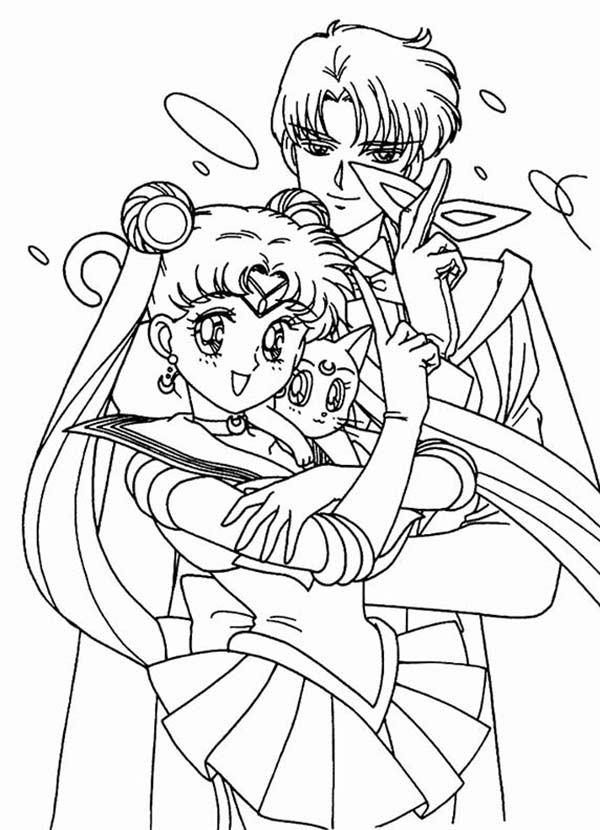600x830 Sailor Moon And Tuxedo Mask With Luna Coloring Page Color Luna