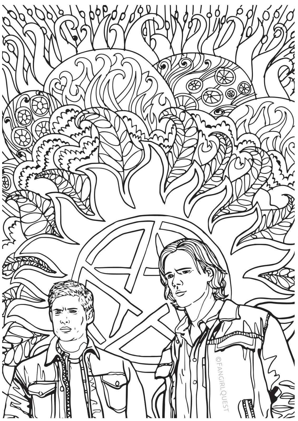 1131x1600 Supernatural Coloring Book Color Your Own Castiel! Fangirl Quest