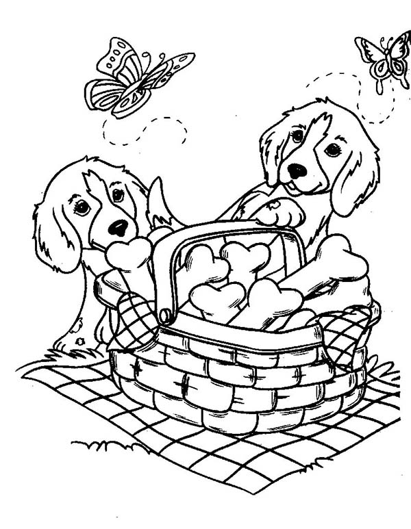 600x773 Two Cute Dog And Butterflies With A Basket Of Bone Biscuits