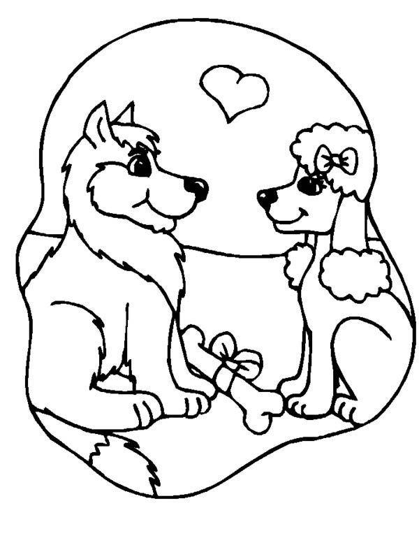 600x800 Two Dogs Are In Loved Coloring Page