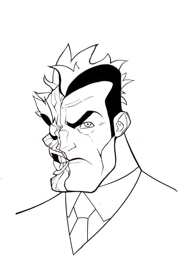 604x900 Coloring Pages Two Face, Printable For Kids Adults, Free
