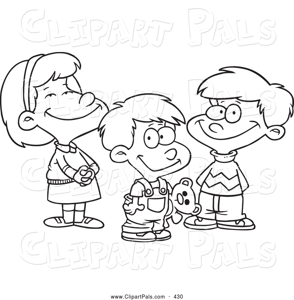 1024x1044 Pal Clipart Of A Coloring Page Of A Small Girl And Two Boys